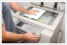 Copier machine in use